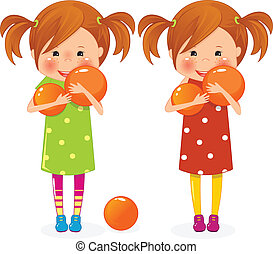 Two girls twins with balls - Two girls twins with orange...