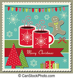Hot chocolate Christmas card - Vector scrapbook Christmas...