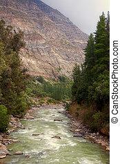 Cascada de las Animas in Cajon del Maipo, Chile - Cascada de...