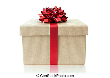 Gift box tied with a decorative red ribbon bow