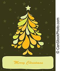 Abstract green christmas tree. Vector art illustration...