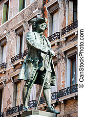 Statue of the Italian playwright Carlo Goldoni Venice Italy