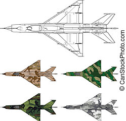 mig 21 cammo - High detailed vector illustration of a...