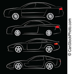 Abstract car silhouettes - Abstract vector illustration of...