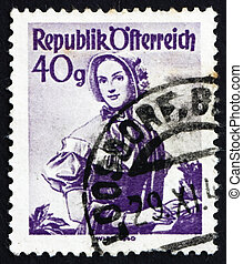 Postage stamp Austria 1948 Woman from Vienna, 1840 - AUSTRIA...