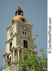 Belltower in Rhodes - Belltower with clock and knight in...