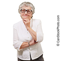 Portrait Of A Old Woman - Portrait Of Old Woman On White...