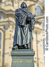 Martin Luther Dresden - Statue of Martin Luther in front of...