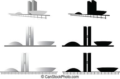 Congresso Nacional em Brasilia - Ilustracao da arquitetura...
