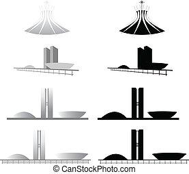 Catedral e Congresso de Brasilia - Ilustracao da arquitetura...