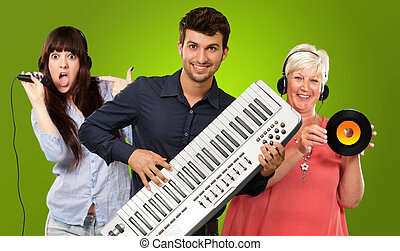 Happy Family Listening To Music On Green Background