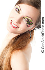 portrait of beautiful model woman with creative makeup and long hair on white background