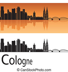 Cologne skyline in orange background in editable vector file