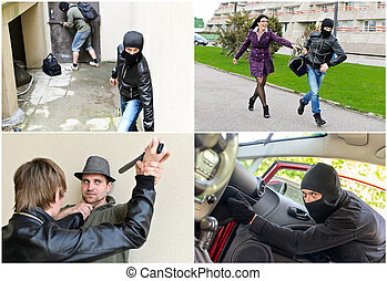 Story of different robberies Collage made of four pictures