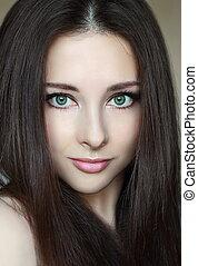 bonito, olhos, mulher, natural, closeup, Maquilagem,...