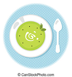 Peas green soup in circle isolated on white - Stylized pea...