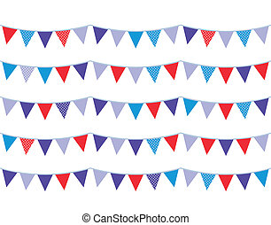 Colorful christmas bunting isolated on white - Christmas...