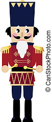 Cute retro Nutcracker isolated on white - Tin soldier or...