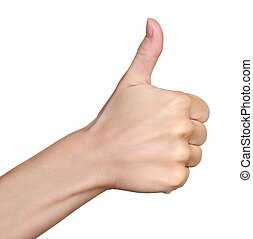 Hand with thumb up isolated on white background. Ok sign by woman