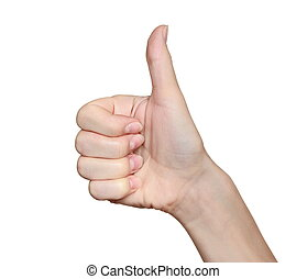 Woman hand with thumb up isolated on white background. Ok sign