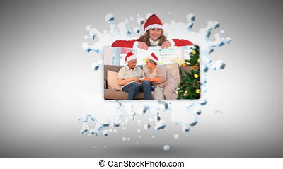 Christmas animation with couples against white background
