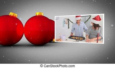 Christmas balls and family's
