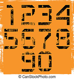 display numbers  - grunge display numbers on orange