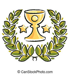 laurel wreath with cup and star on white