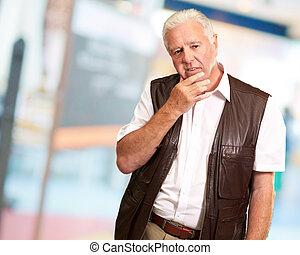 Portrait Of Sad Old Man, Indoor