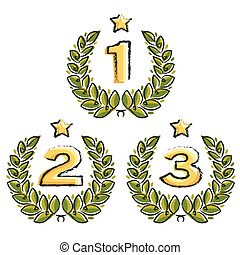 laurel wreath with place numbers and star on white