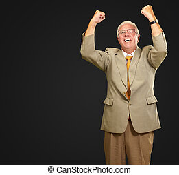 Senior Business Man Cheering Isolated On Black Background