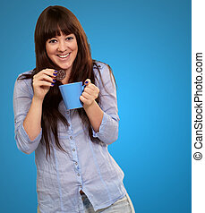 Beautiful Woman With Coffee And Cookies Isolated On Green...
