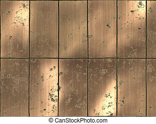 zardzewiały, oczyszczony szczotką, Brązowany, dachówki