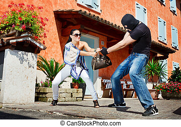 Self defence in the street - Good looking pretty woman...