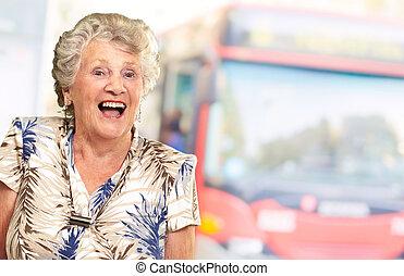 Portrait Of A Senior Woman Happy