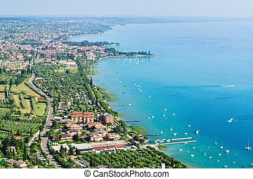 View to the south-east part of Garda lake from the high...