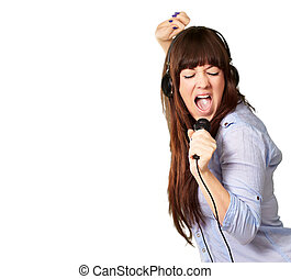 Girl With Headphone Singing On Mike On White Background