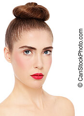 Girl with hair bun - Young beautiful woman with clear...