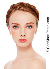 Young beauty - Portrait of young beautiful redhead freckled...