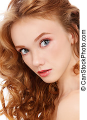 Pretty redhead - Portrait of young beautiful girl with curly...