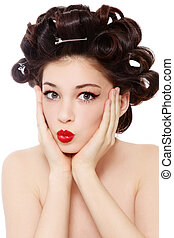 Hairstyle - Humorous shot of young pretty girl with hair...