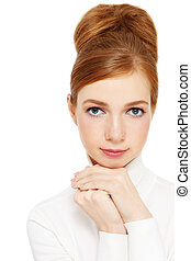 Freckled girl - Young freckled girl with vintage hair bun,...