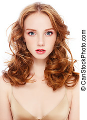 Redhead - Portrait of young beautiful girl with curly red...