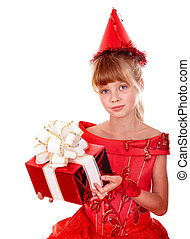 Birthday child girl in red dress with gift box.