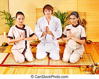 Women at bamboo spa .
