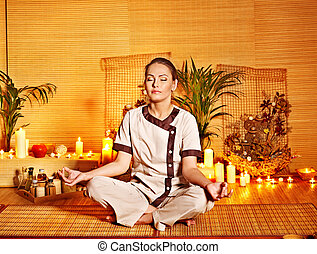 Bamboo massage at spa and woman Luxury relaxation