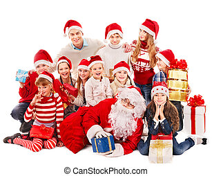 Group of children with Santa Claus.  Isolated.