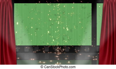 Theater animation with a green background