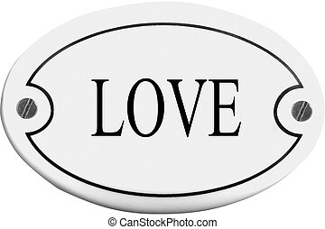 Old-fashioned door name plate with text love