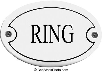 Old-fashioned door name plate  with text ring